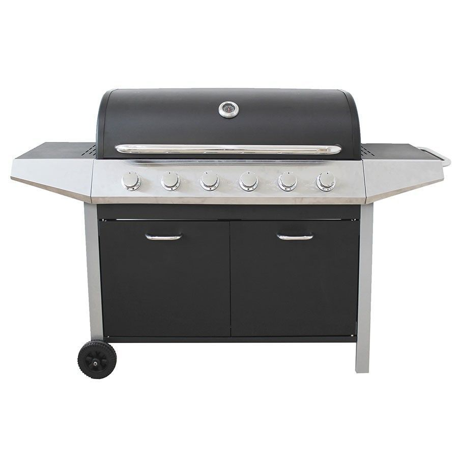 6 Burner Gas Barbecue Grill Stainless Steel Hood Shelves Black Garden Outdoor Grilling Gas Bbq Gas Barbecue Grill
