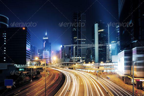 traffic in Hong Kong by liufuyu traffic in Hong Kong at night