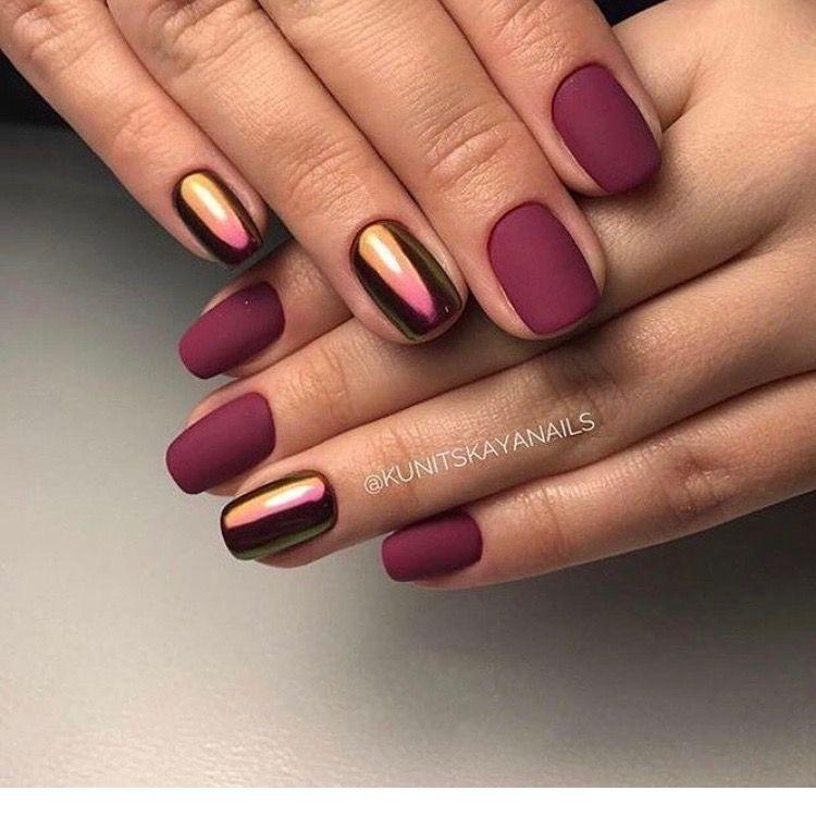chrome and polish nail design