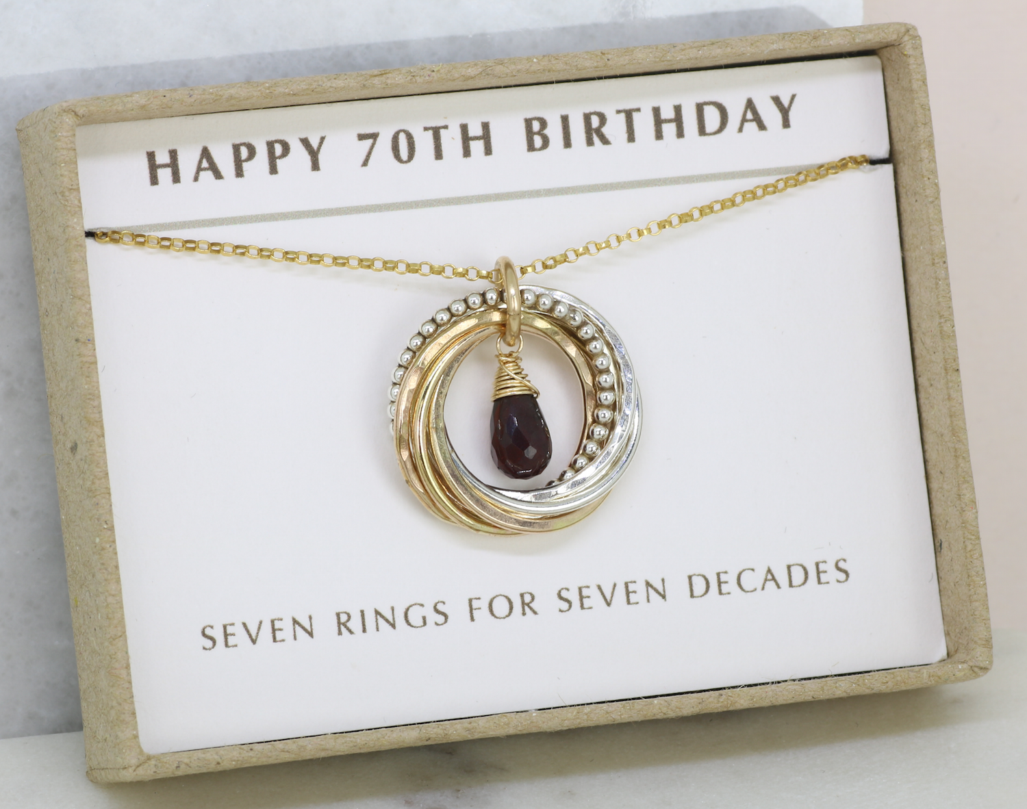 70th Birthday Gift January Necklace For Mother Garnet Jewellery