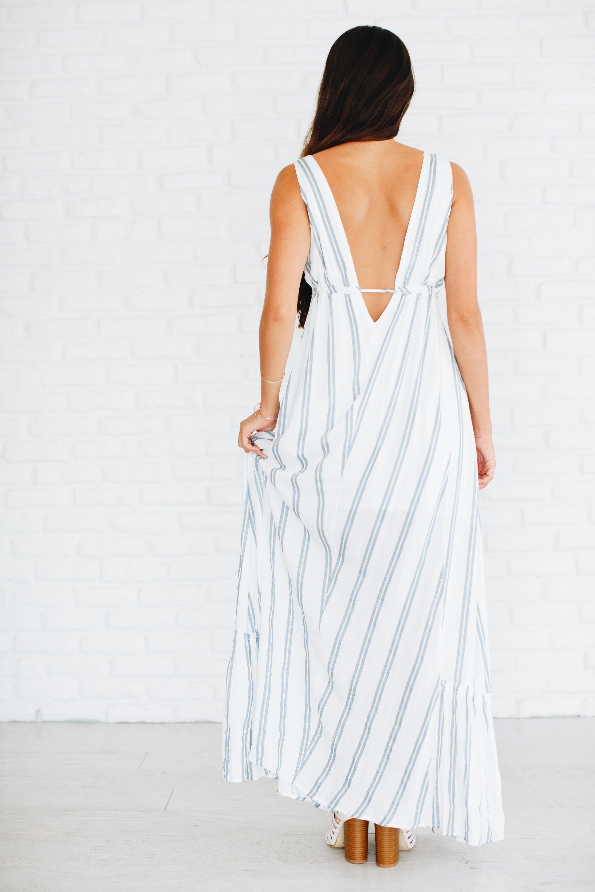 53904dd60ea Venetian Blue Striped Maxi Dress