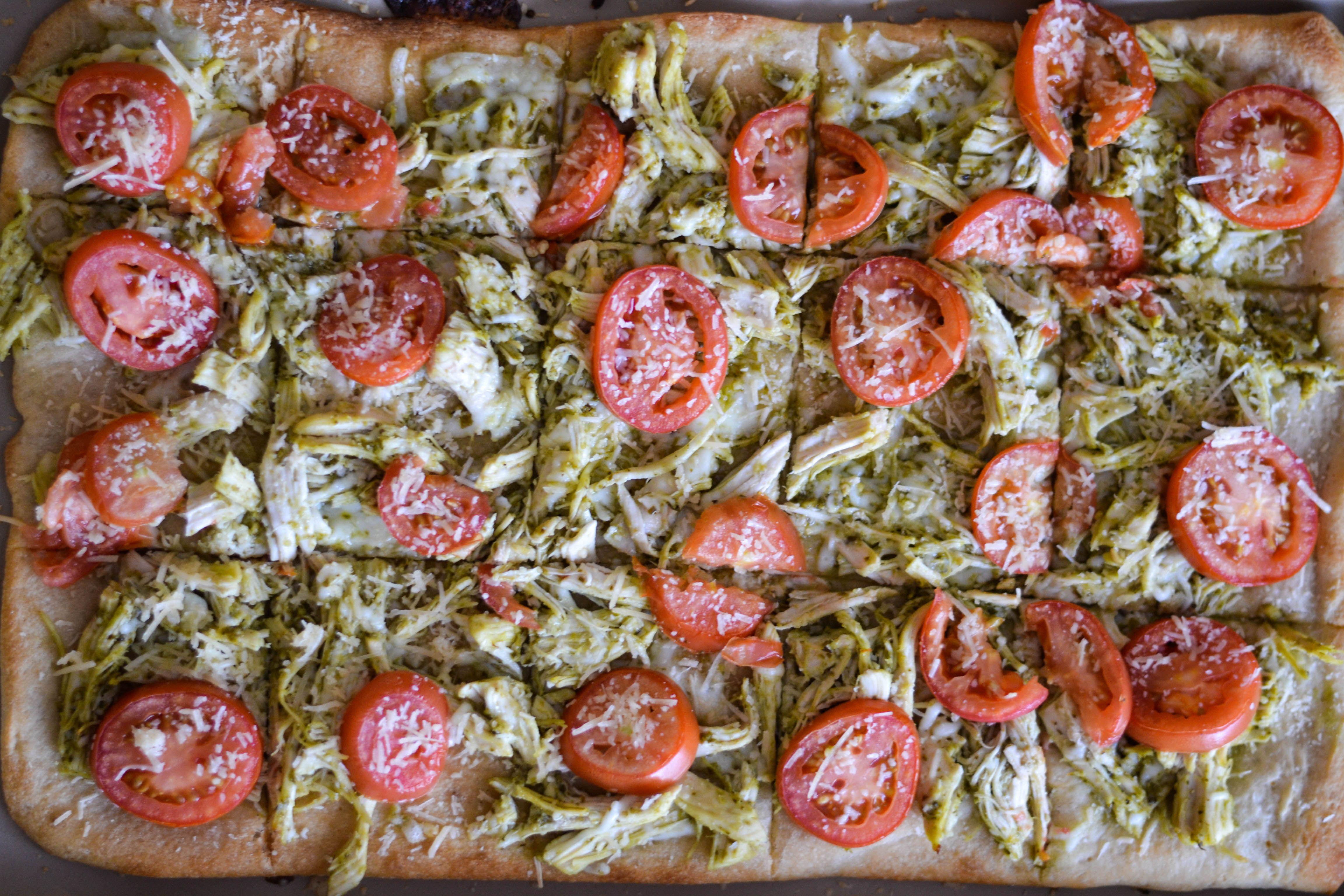 Chicken, Pesto and Tomato Flatbread