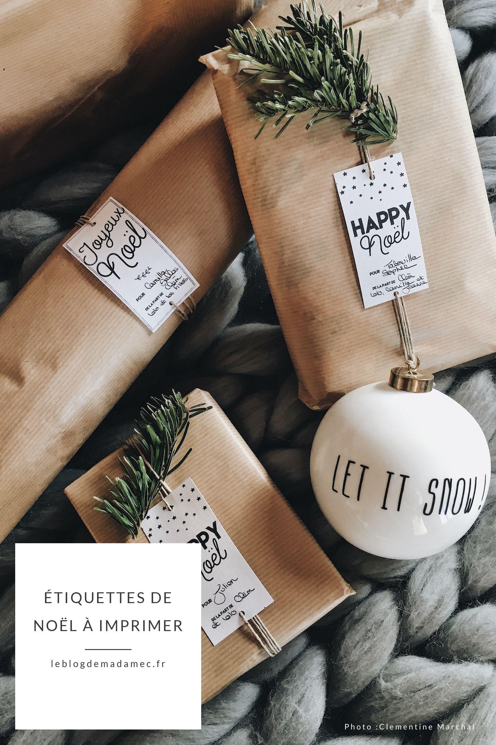 Les étiquettes de Noël à imprimer - Le Blog de Madame C