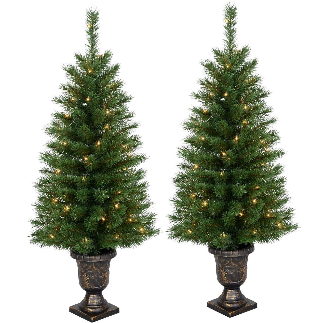 add some holiday cheer to your entryway this season with the pre lit porch christmas trees pre lit with 50 clear lights maximum diameter of 19 inches - Pre Lit Outdoor Christmas Tree