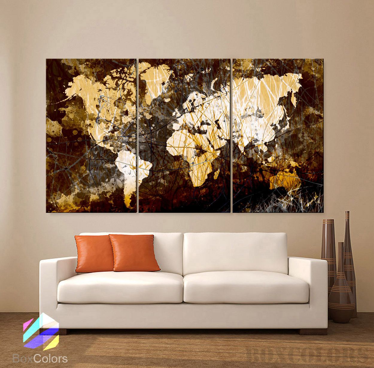 Large 30 X 60 3 Panels Original Art Canvas Print World Map Texture Abstract Wall Decor Office Interior Home Included Framed 1 5 Depth Abstract Wall Decor Office Wall Decor Canvas Art Prints