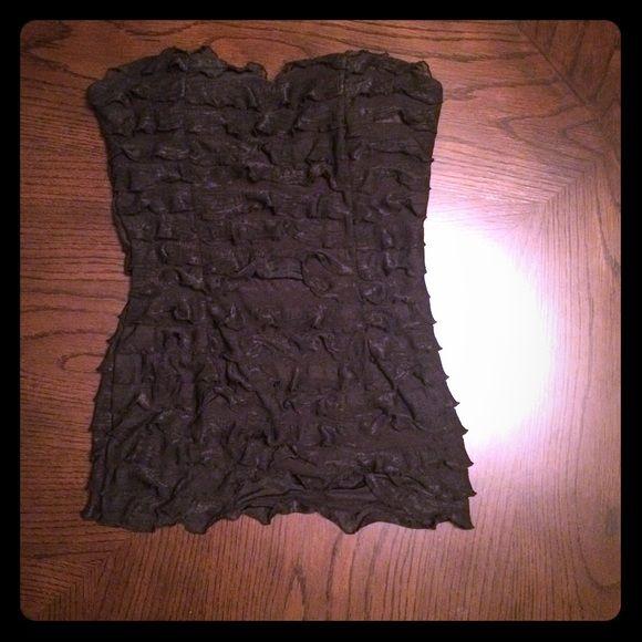 Sleeveless shirt Black shirt w/ Ruffles. Worn only once. Charlotte Russe Tops