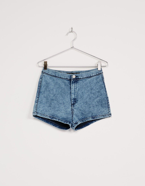 Short taille haute délavé à l'acide - Shorts - Bershka France