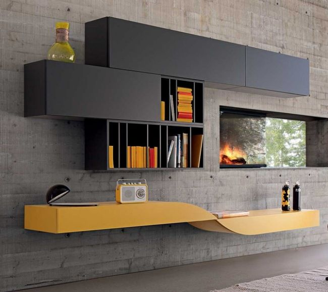 Wohnwand design grau  Wohnwand gelb grau Radio Dekoelemente Bücherregal Kamin | tv ...
