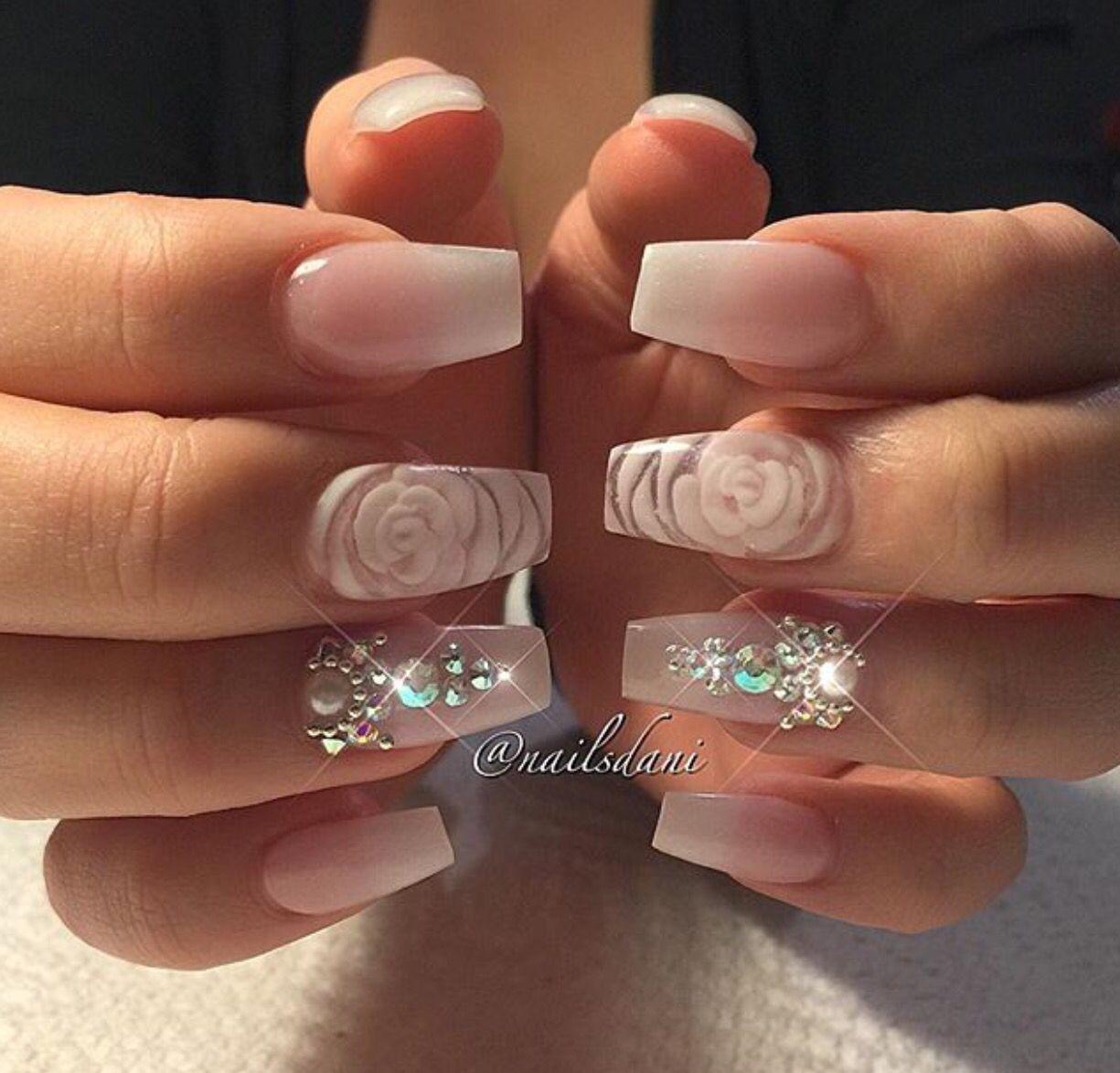 Rhinestones Flower Nails Nails Design With Rhinestones Nail Designs Bling Nails