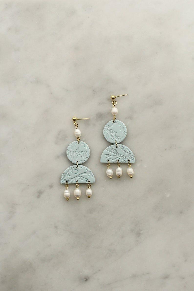 Modern Jewelry Statement Earrings Minimalist Earrings Dangle Earrings Polymer Clay Earring ATHENA in Key Lime