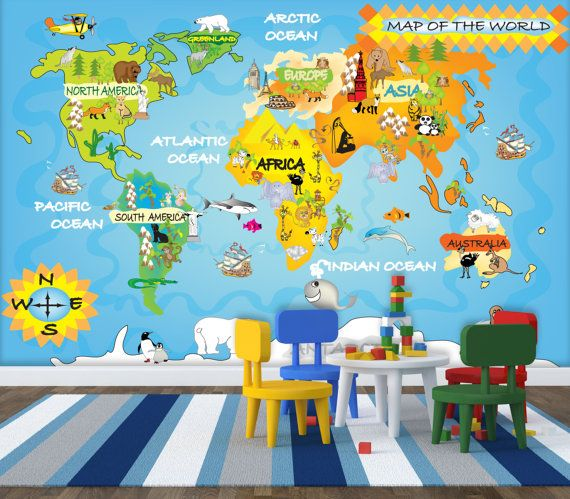 Kids Map Wall Mural Repositionable Peel Stick Wall Paper Wall - Kids world map wall decal