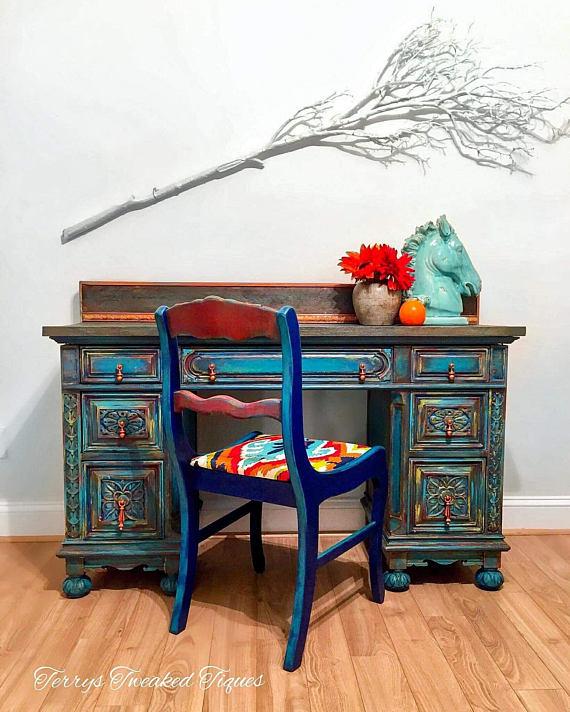 Sold!! Desk furniture , wood furniture , Bohemian furniture , office ...