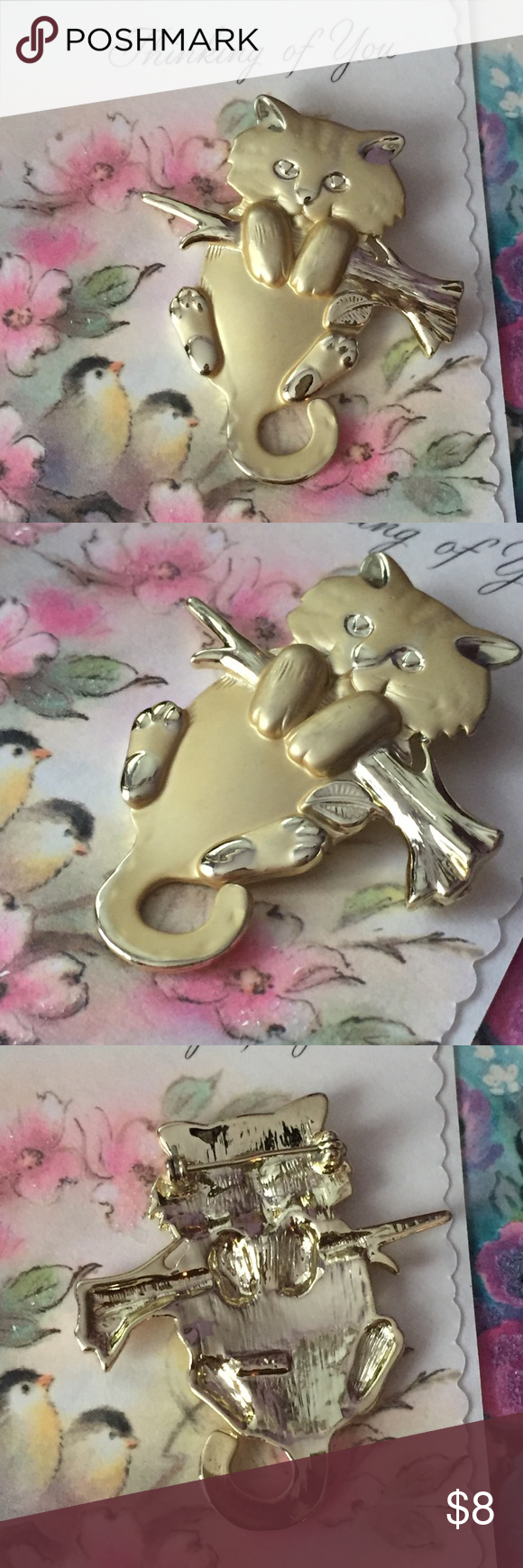 Vintage Gold Cute Cat Brooch Hang In There This Cute Gold Tone Cat Kitten Is Hanging Onto A Branch In Working Cat Brooch Vintage Brooch Jewelry Vintage Gold