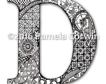 Charming D Monogram Coloring Page