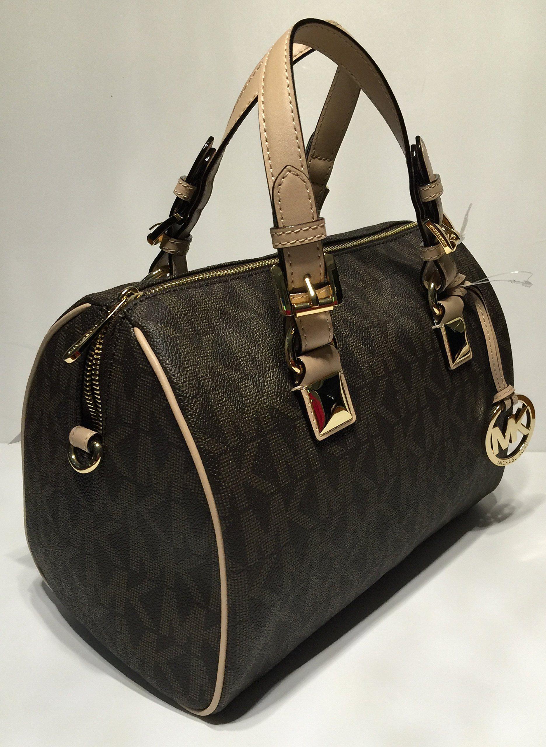 b6d5f855a12b Michael Kors MD Grayson Satchel Handbag Signature MK Brown PVC with ...