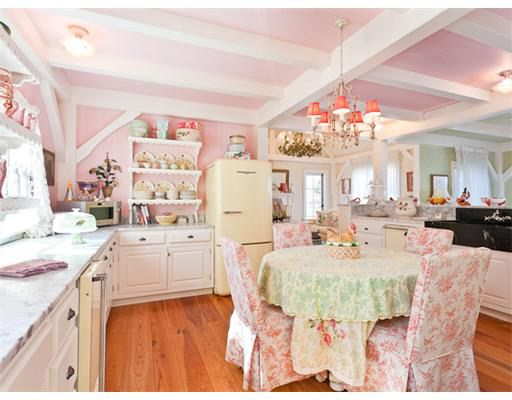 Pink Kitchen Walls kirstie-alleys-pink-cottage kitchen in maine | cottage kitchens