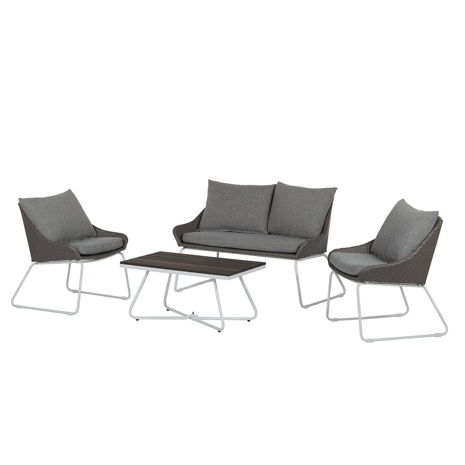 Lounge Set Gran Rey (4 teilig)   Rattan / Stahl   Grau, Fredriks