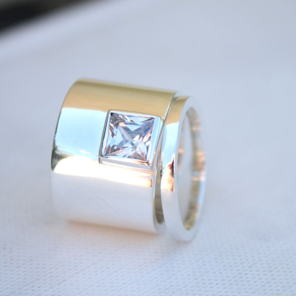 Unique Womens Wedding Rings Edgy Statement Sterling Ring Square Stone Bespoke Set Bold Engagement 16900 Via Etsy: Handmade Wedding Bands New Hshire At Websimilar.org
