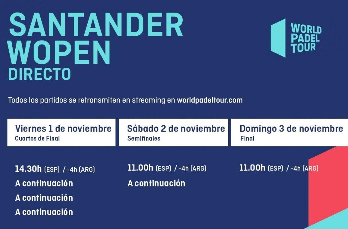 Horarios World Padel Tour Santander Femenino En Directo Padel Santander Partes De La Misa