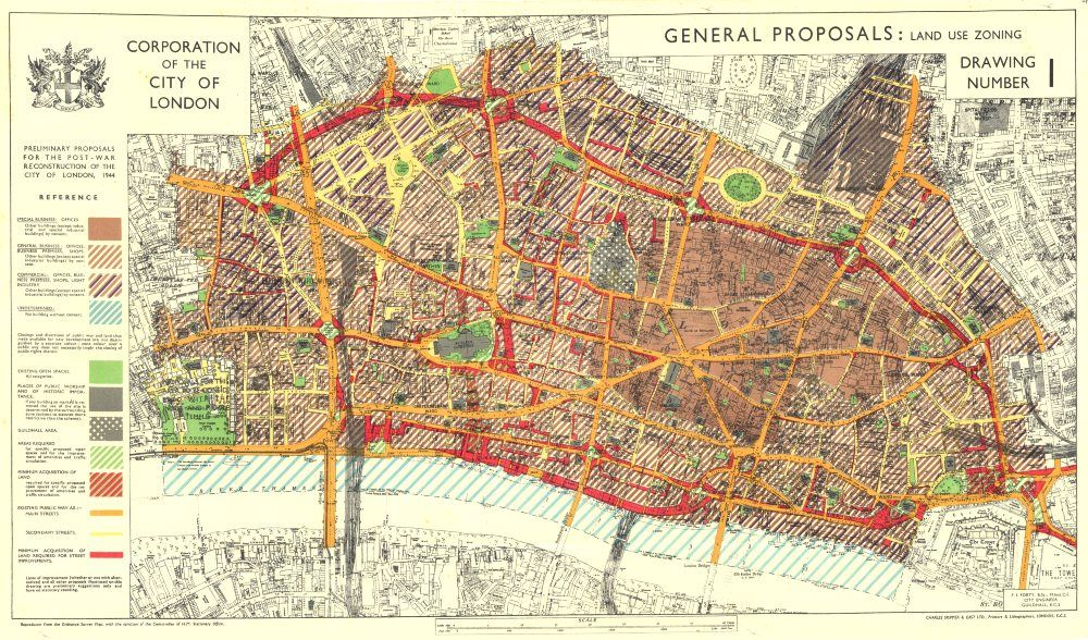 City Planning Maps London Post War Reconstruction MAP CITY - Town of sweden zoning map