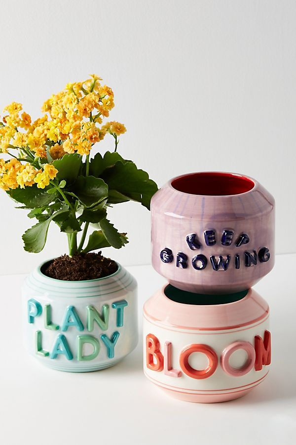 Garden Greeting Pot by Anthropologie in Mint, Decor