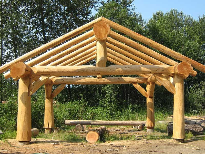 Picnic shelter plans site prep will depend on local for Rustic gazebo plans