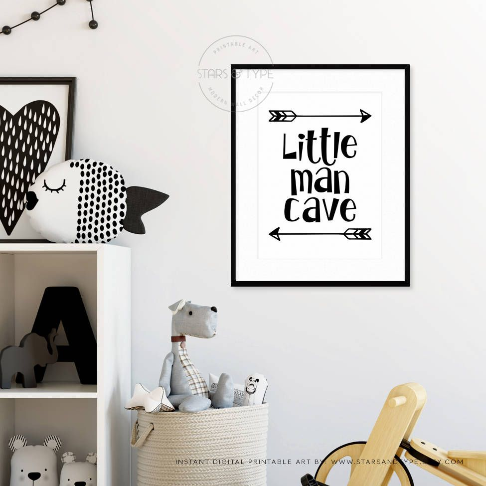 Little Man Cave Printable Wall Art Boys Playroom Bedroom Nursery Decor Black And White Type Arrows Scandi Styl Wall Printables Boy Room Printable Wall Art