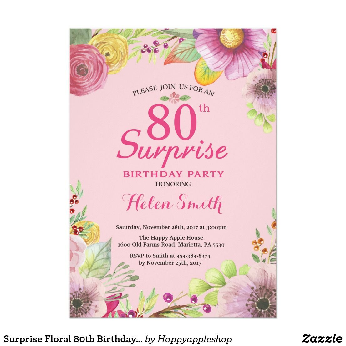 Surprise Floral 80th Birthday Invitation For Women Watercolor Pink Background