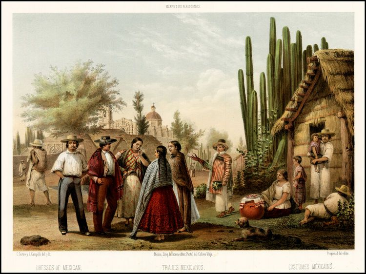 99e4b5d73 mid 19th century Mexican dress   Trajes Mexicanos -- Dresses of Mexican --  Costumes Mexicains - Barry .