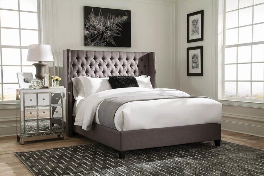 301405q Alcott Hill Greig Bancroft Grey Woven Fabric Queen Bed Set
