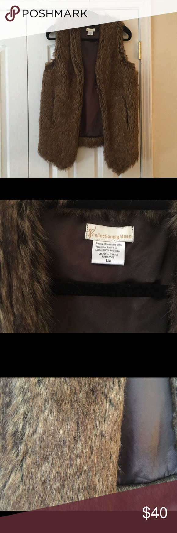 Faux fur vest Size S/M faux fur vest by Collection Eighteen. Worn only a few times, in excellent condition. Purchased at Nordstrom. CollectionEighteen Jackets & Coats Vests