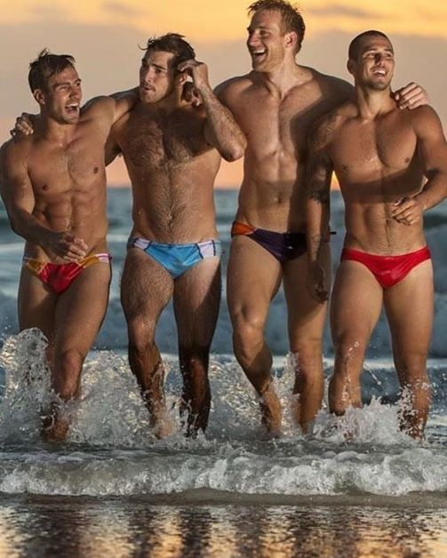 beefy swimmers have fun