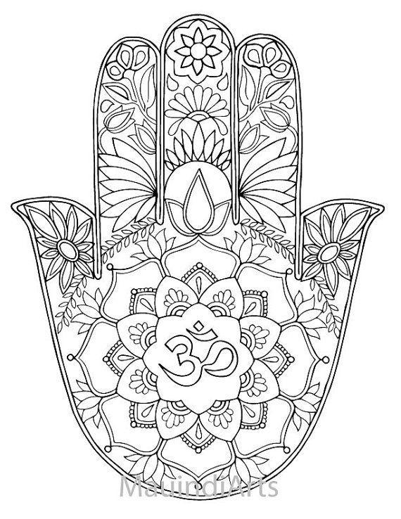 hand drawn adult coloring page print hamsa om