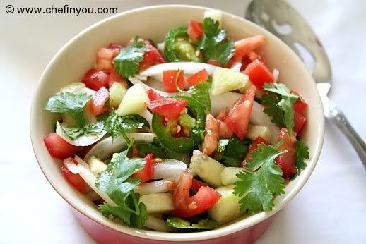 Kachumber (onion cucumber and tomato salad) Recipe