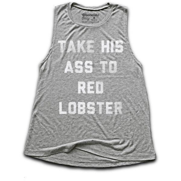 Labor Day Take Him to Red Lobster Women's Tank Top Women's Fitness... ($21) ❤ liked on Polyvore featuring tops, black, tanks, women's clothing, red tank top, long shirt, faded red shirt, beach tanks and long tank