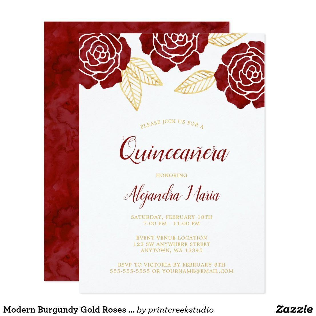 modern burgundy gold roses quinceanera invitations modern watercolor