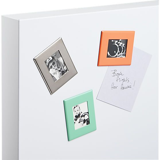 Upgrade the photo gallery on your fridge. Sleek stainless steel frame clicks to any magnetic surface to display a mini pic.