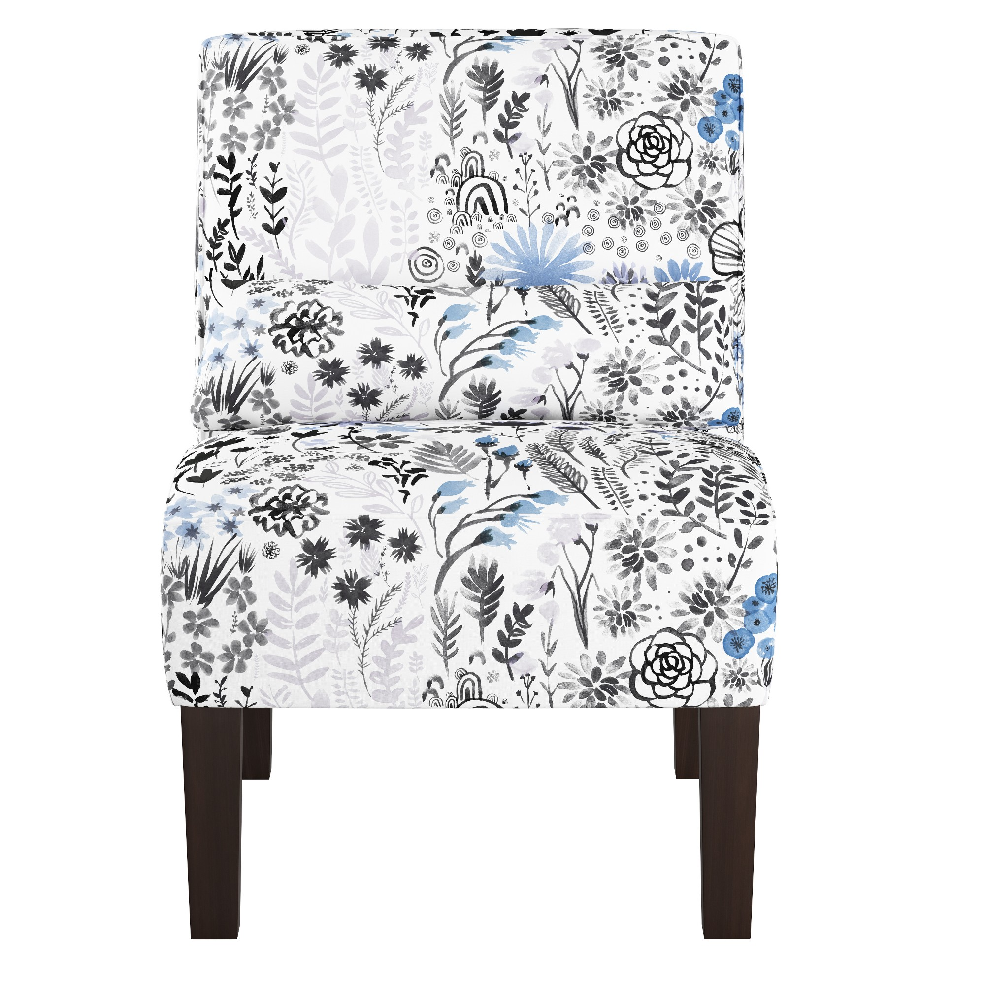 Best Armless Chair Winter Botanical Blue Skyline Furniture 400 x 300