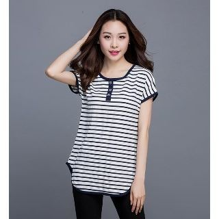 Buy Eloqueen Short-Sleeve Striped Buttoned Top at YesStyle.com! Quality products at remarkable prices. FREE WORLDWIDE SHIPPING on orders over CA$ 45.