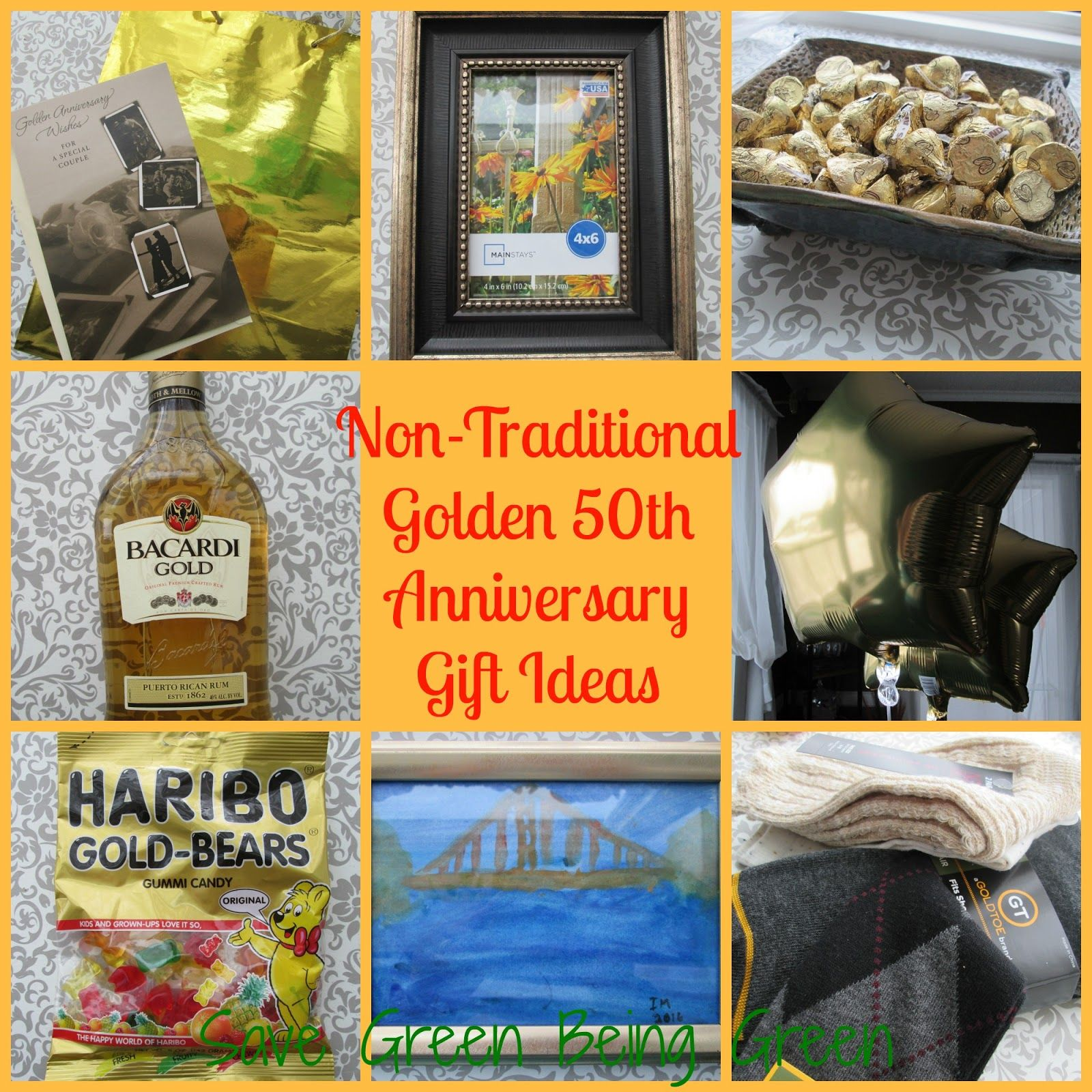 Non Traditional Golden 50th Wedding Anniversary Gift Ideas