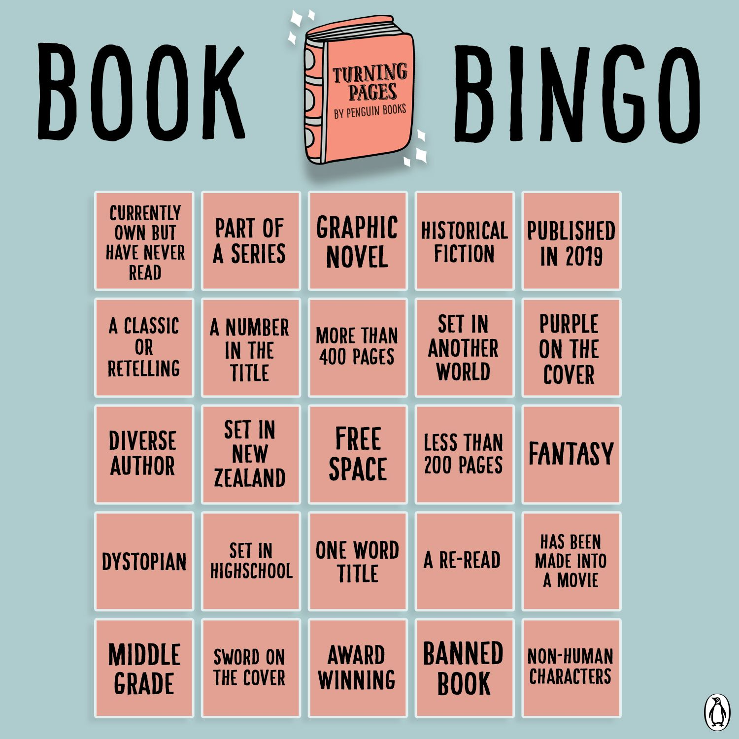 Turning Pages Book Bingo Penguin Books New Zealand Ya Reading Challenge Book Club Books Book Challenge Reading Challenge