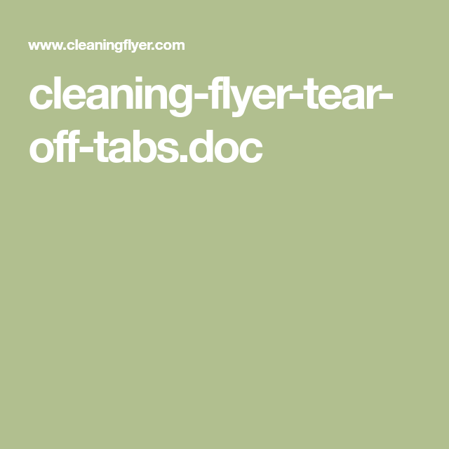 cleaning flyer tear off tabs doc cleaning services marketing