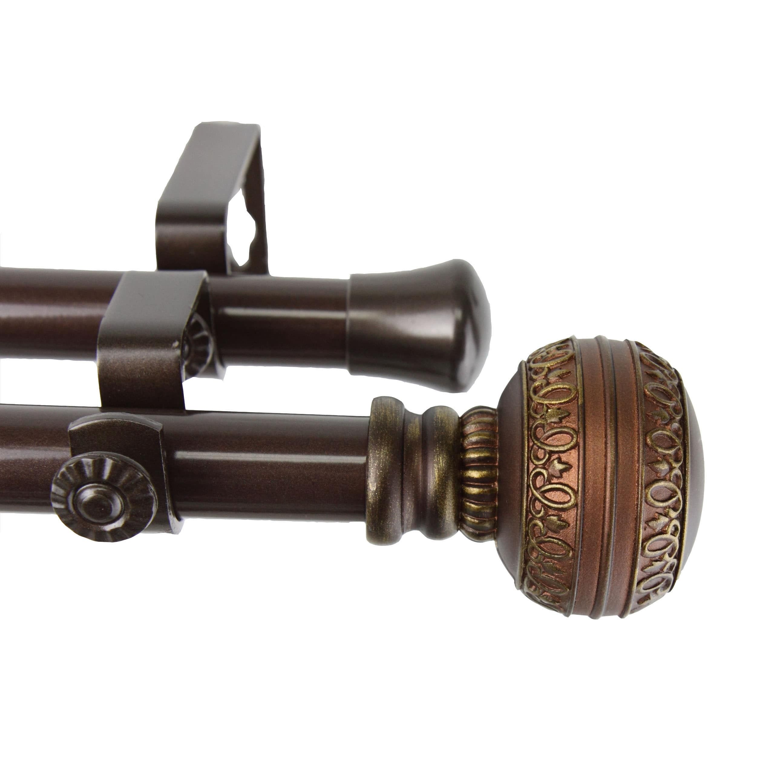 Instyledesign Helena Adjustable Double Curtain Rod 48 To 84 Inch