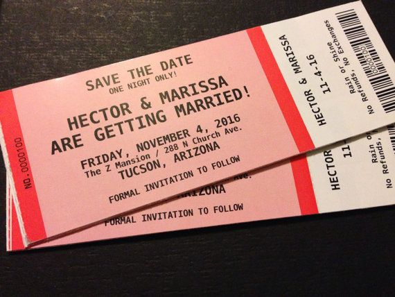Save The Date Wedding Concert Ticket Concert tickets, Weddings - concert ticket invitations