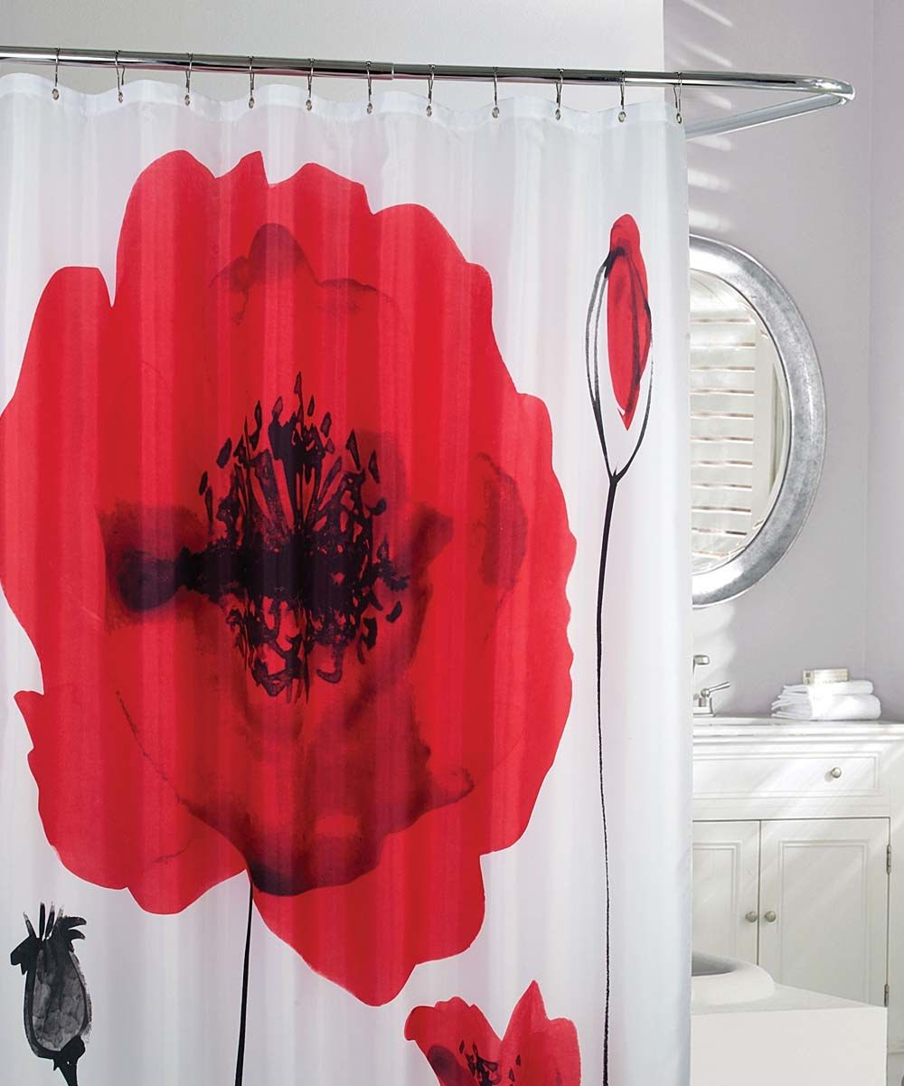 Moda at home red u white poppy explosion shower curtain poppies
