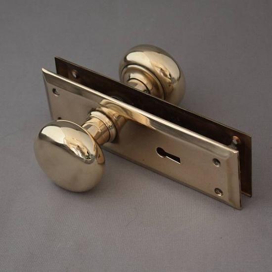 アンティーク イギリス 真鍮 ドアノブ 取っ手 バックプレートつき