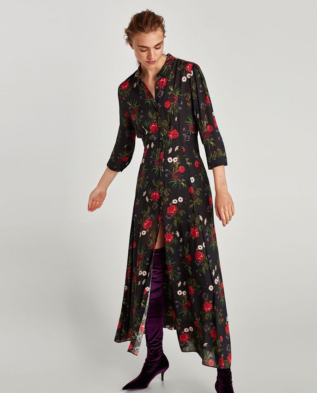 Vestido camisero estampado rosas zara