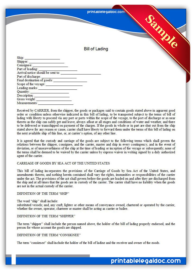 Free Printable Bill Of Lading  Sample Printable Legal Forms