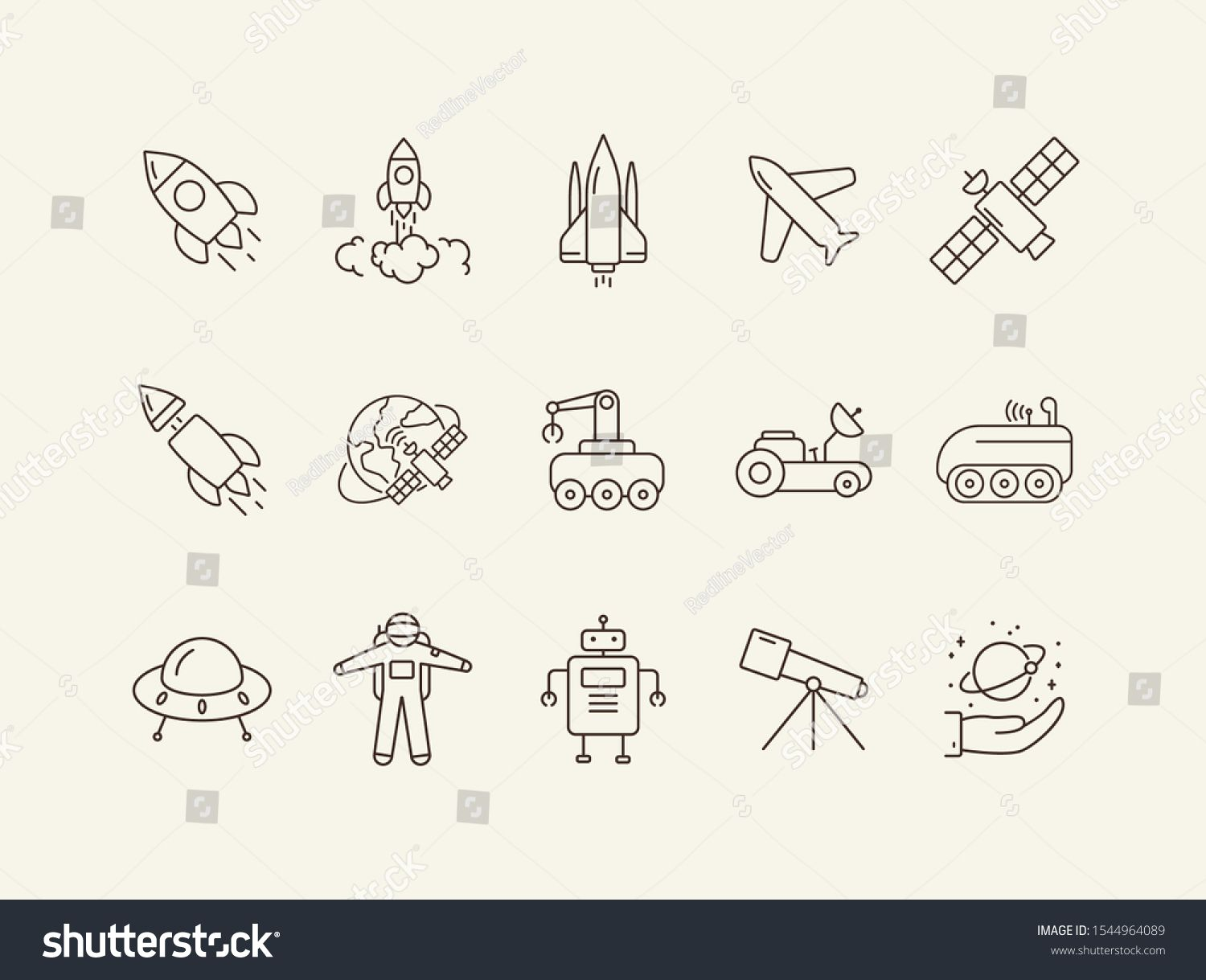 Space Technology Icons Rocket Spaceship Satellite Space Technology Concept Vector Illustration Can Be Us Technology Icon Space Doodles Vector Illustration