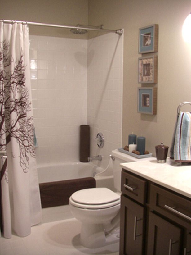 More Beautiful Bathroom Makeovers From HGTV Fans Tan Walls - Blue and brown bathroom sets for small bathroom ideas